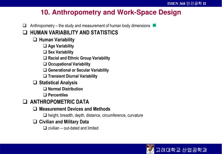 10 anthropometry and work space design n.