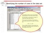 identifying the number of cases in the data set