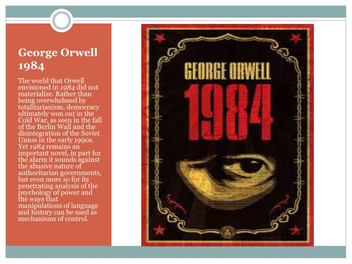 a book analysis of 1984 by george orwell George orwell - 1984 1 outline what the story is about george orwell's 1984 is a book about winston smith, a low-ranking member of the orwell is presenting the world of 1984 as a satiric statement of what might come to pass if the world did not become aware of the terrible problems.