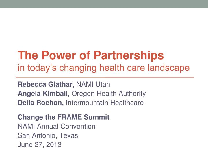 the power of partnerships in today s changing health care landscape n.