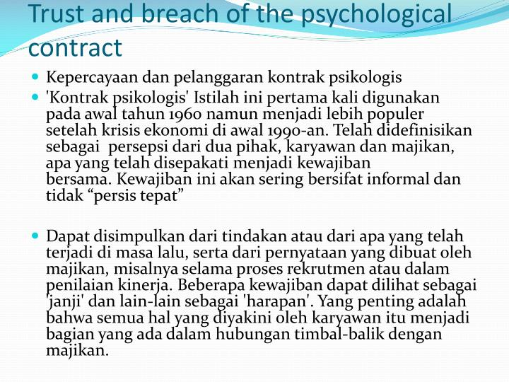 Trust and breach of the