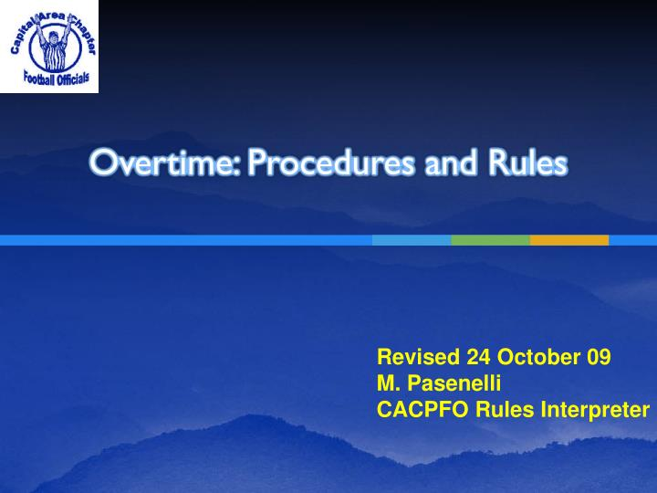 overtime procedures and rules n.