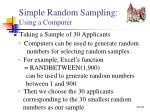 simple random sampling using a computer