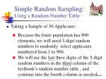 simple random sampling using a random number table
