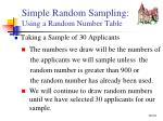 simple random sampling using a random number table1