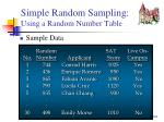 simple random sampling using a random number table4