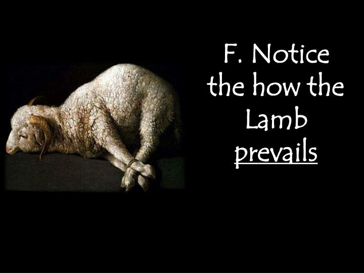 F. Notice the how the Lamb