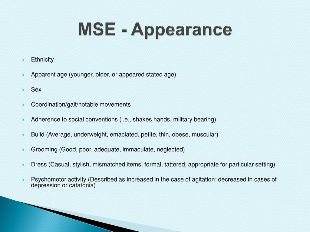 PPT - Introduction to Mental Status Examination (MSE ...