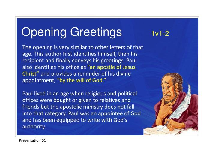 Opening Greetings