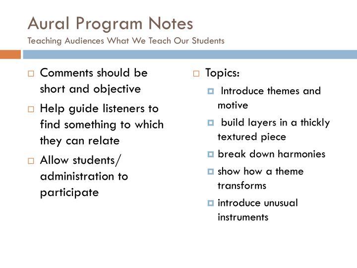 Aural Program Notes