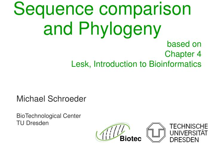 sequence comparison and phylogeny n.