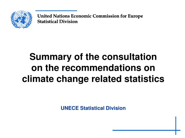 summary of the consultation on the r ecommendations on climate change related statistics n.