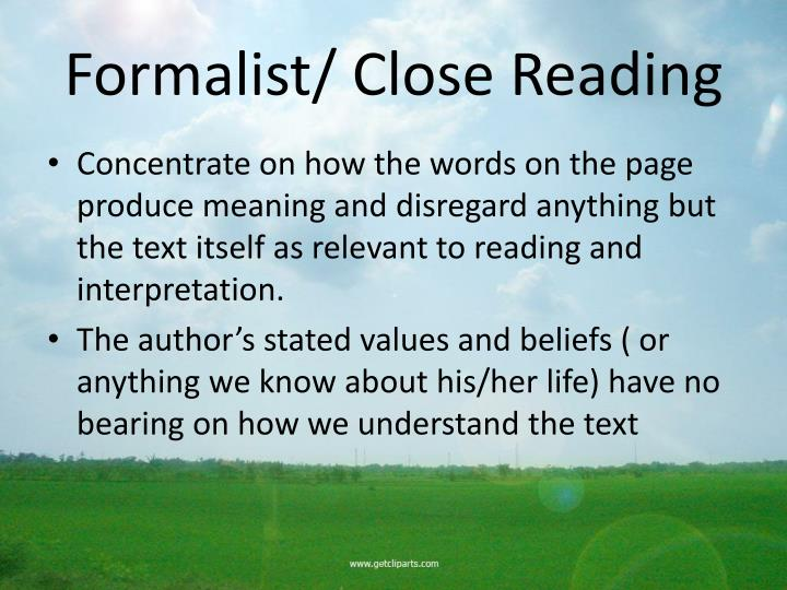 Formalist close reading
