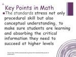 key points in math2