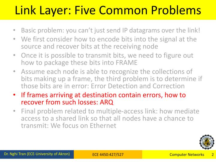 Link layer five common problems