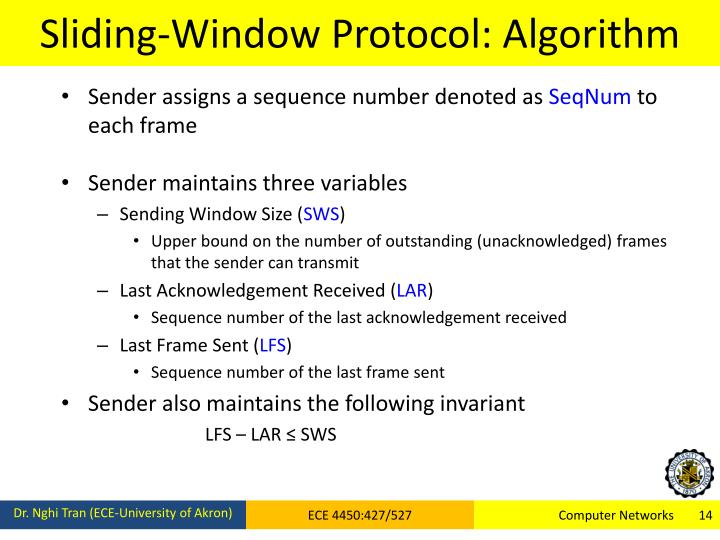 Sliding-Window Protocol: Algorithm