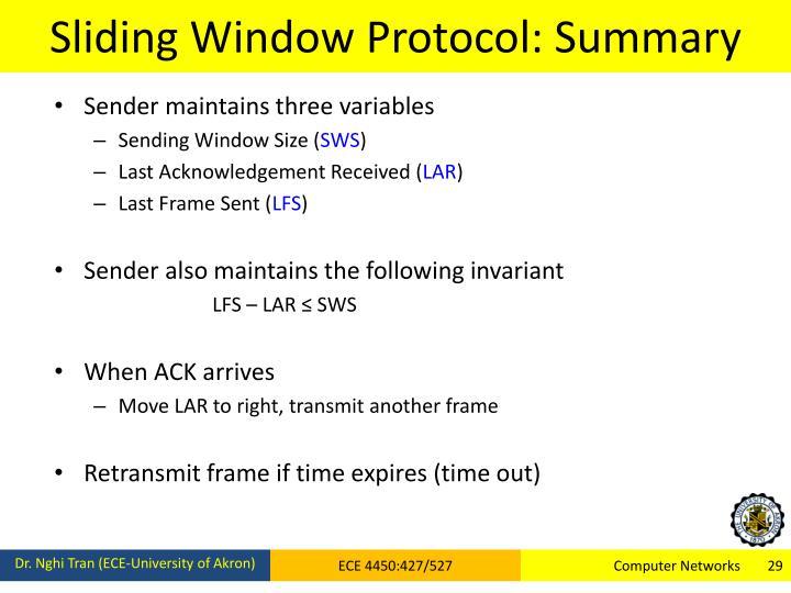Sliding Window Protocol: Summary