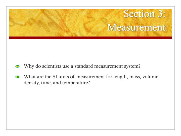 section 3 measurement n.