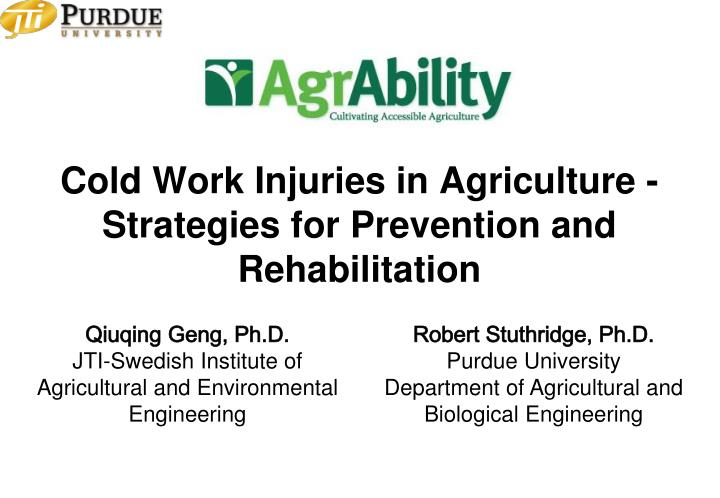 cold work injuries in agriculture strategies for prevention and rehabilitation n.