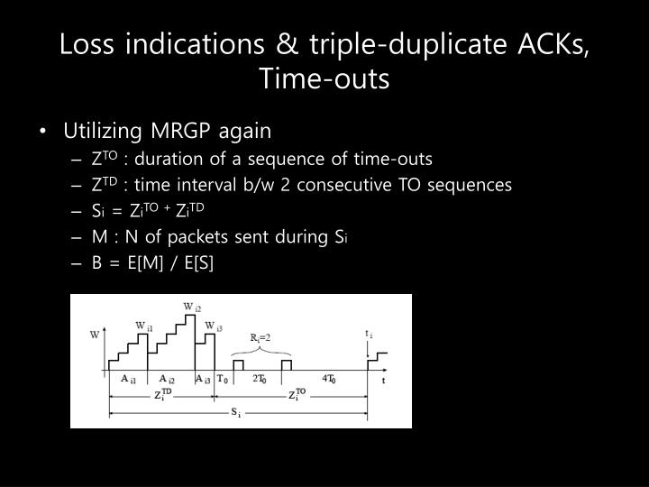 Loss indications & triple-duplicate ACKs, Time-outs