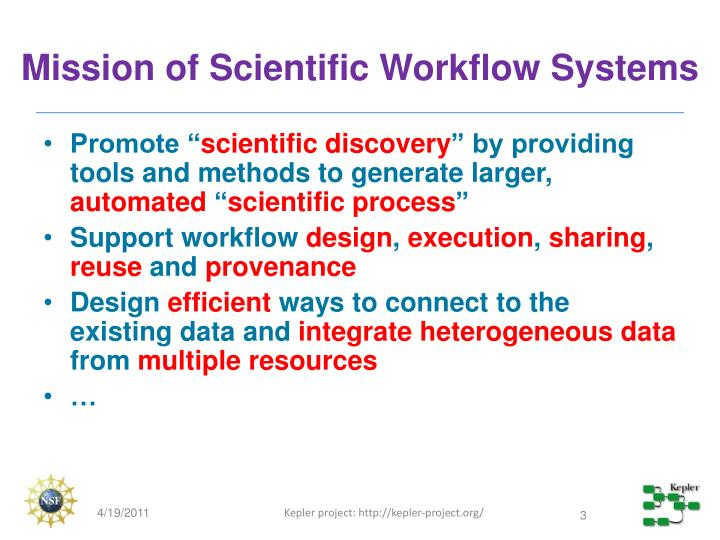 Mission of scientific workflow systems