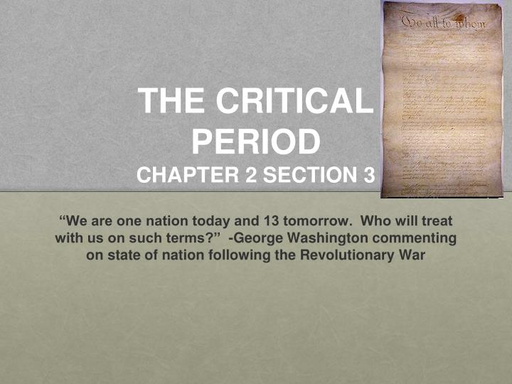 the critical period chapter 2 section 3 n.
