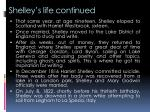 shelley s life continued