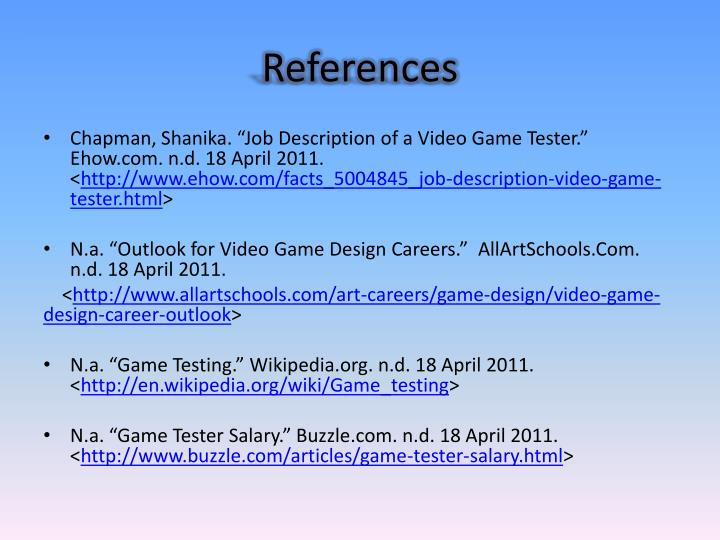 Job Description Of A Video Game Tester Ehow Nd 18 April 2011 Facts 5004845