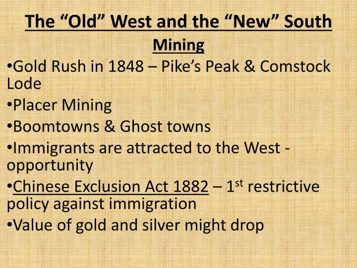 the old west and the new south n.