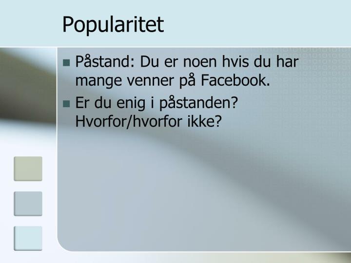 Popularitet