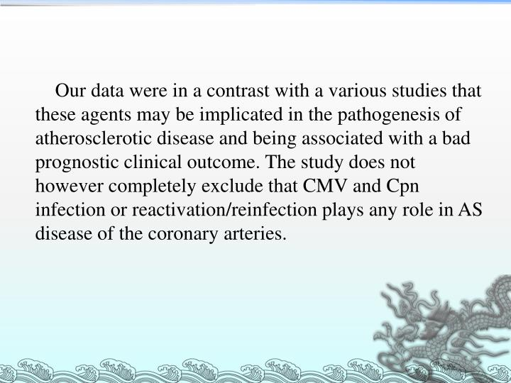 Our data were in a contrast with a various studies that these agents may be implicated in the pathogenesis of atherosclerotic disease and being associated with a bad prognostic clinical outcome. The study does not however completely exclude that CMV and Cpn infection or reactivation/reinfection plays any role in AS disease of the coronary arteries.