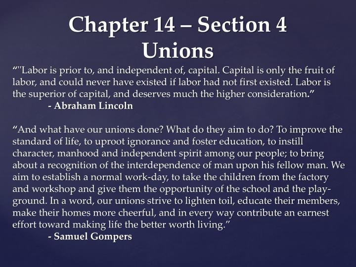 chapter 14 section 4 unions n.