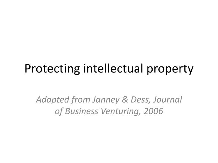 protecting intellectual property n.