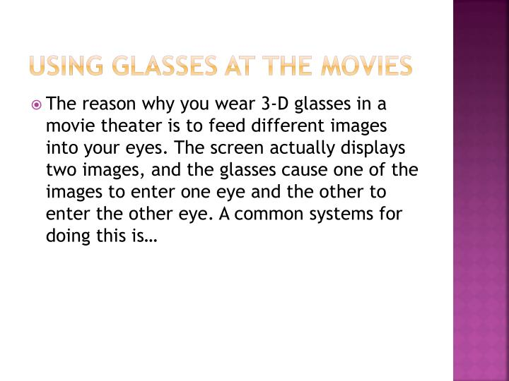 Using glasses at the movies