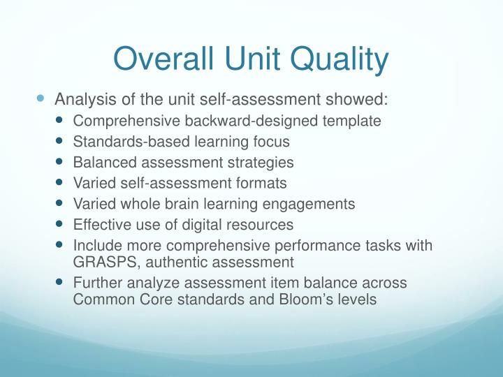 Overall Unit Quality