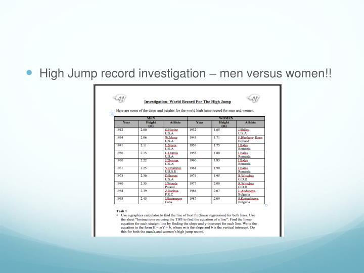 High Jump record investigation – men versus women!!
