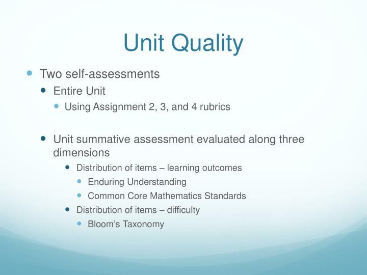 Unit Quality