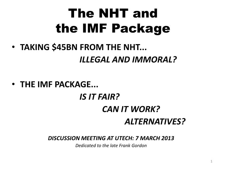 the nht and the imf package n.