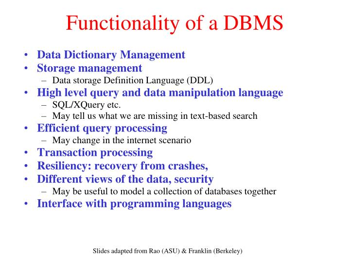 functionality of a dbms n.