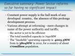 executive summary power sector reforms so far having no significant impact