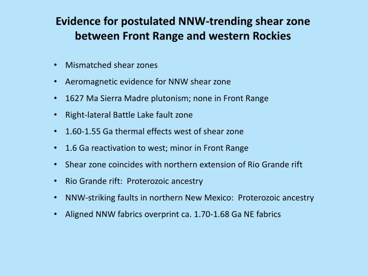 Evidence for postulated NNW-trending shear zone