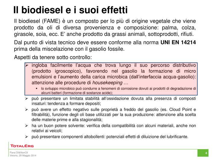 Il biodiesel e i suoi effetti