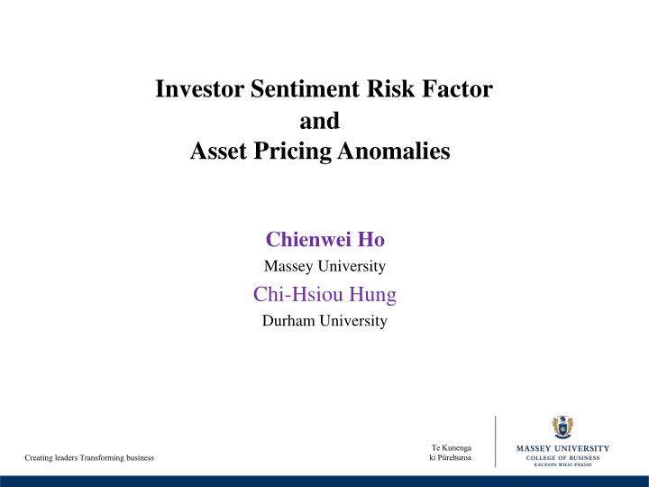 investor sentiment risk factor and asset pricing anomalies n.