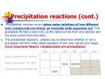 precipitation reactions cont