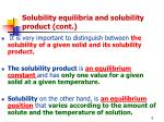solubility equilibria and solubility product cont