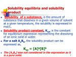 solubility equilibria and solubility product
