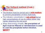 the volhard method cont