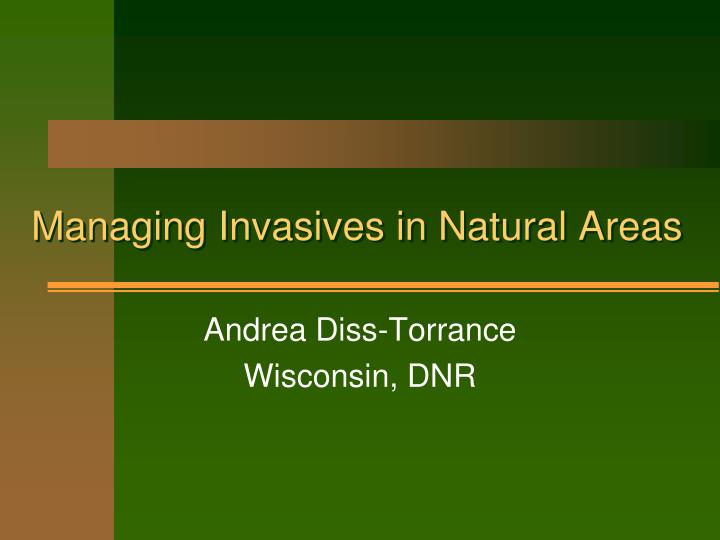 managing invasives in natural areas n.