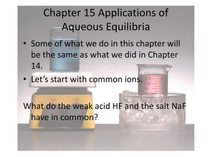 chapter 15 applications of aqueous equilibria n.