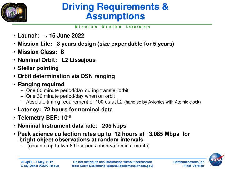 Driving Requirements & Assumptions